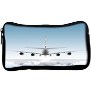 Snoogg aircraft landing on the earthPoly Canvas Student Pen Pencil Case Coin Purse Utility Pouch Cosmetic Makeup Bag