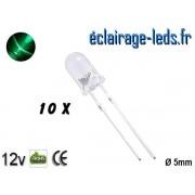 Lot de 10 LEDs vertes 1800 mcd 525 nm 30° ref ld-08