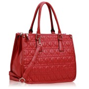 Kabelka LS00215A - Red Three Zipper Quilted Tote