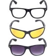 Reyda Rectangular, Wrap-around, Rectangular Sunglasses(Clear, Violet, Yellow)