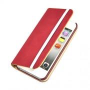 Кожен калъф с еластична лента за IPhone 5/5S - червен