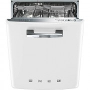 Smeg 50's Retro DI6FABWH Fully Integrated Standard Dishwasher - White Control Panel with Fixed Door Fixing Kit - A+++ Rated