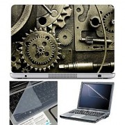FineArts Laptop Skin - Brown Gear With Screen Guard and Key Protector - Size 15.6 inch