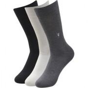 Balenzia Men's Embroidered Premium Mercerised Cotton Socks -Black Dark Grey Light Grey- Pack of 3