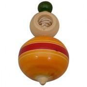 Desi Karigar Wooden Wind String Top Toy (Multicolored)