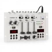 22BT 2CH Mixer per DJ 2/3 Canali 2x USB 3x Jack da 6,3 bianco