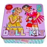 Learn To Sew For Fun, Make A Dolly Kimono Sewing Kit, Includes Doll And Precut Kimono In Vintage Keepsake Tin