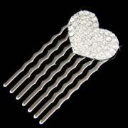 Swarovski Crystal Bridal Valentine Love Heart Hair Comb Jewelry
