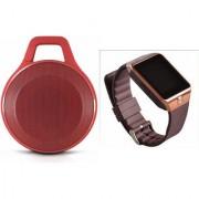 Zemini DZ09 Smart Watch and Clip Plus Bluetooth Speaker for LG OPTIMUS L3(DZ09 Smart Watch With 4G Sim Card Memory Card| Clip Plus Bluetooth Speaker)