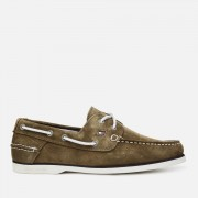 Tommy Hilfiger Men's Classic Suede Boat Shoes - Olive Night - UK 11 - Green