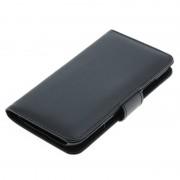 Bolsa em Pele Tipo Livro Flip para Samsung Galaxy S4 I9500, I9502, I9505 - Preto