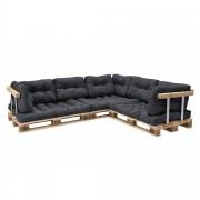 [en.casa]® Paletový nábytek - interiérová sada polštářů - model D - tmavě šedá