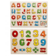 Yoyolala Wooden Peg Puzzles, Early Education Wood Puzzle Toy Kindergarten Teaching Toys (Set Of 2)-Numbers And Alphabet