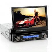 """Bilstero med 7"""" flip-skärm. Touchscreen, Bluetooth, Analog TV, 1DIN"""