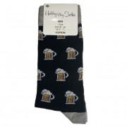 Ponožky bavlněné motiv piva černé vel. 43-46
