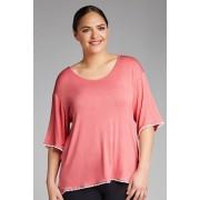 Womens Sara PJ Trim Top - Coral Sleepwear Nightwear