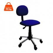 Cadeira de Escritório Secretária Giratória Cromada E Azul