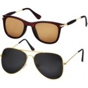 Freny Exim Clubmaster Sunglasses(Brown, Black)