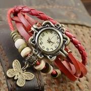 Round Analog Red Leather Women Quartz Watch