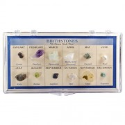 Fantasia Boxed Collection: Natural Birthstone Collection In Presentation Case Set #5 As Nature Made Them Educational Natural Rock, Fossil, Gemstone & Mineral Specimens For The Classroom