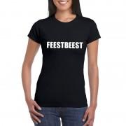 Shoppartners Feestbeest tekst t-shirt zwart dames