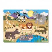 Puzzle din lemn Animalele safari, 7 piese, 3 ani+