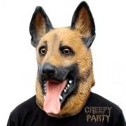 CreepyParty Deluxe Novelty Halloween Costume Party Latex Animal Dog Head Mask (German Shepherd)