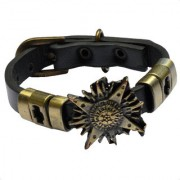 Men Style Unique New Latest Best Design Charm Punk Gothic RockBelt Buckle Black And Gold Leather And Alloy Bracelet For Men