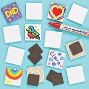 Tile Magnets - 10 Ceramic Tiles with self adhesive magnet. Size 4.5cm x 4.5cm