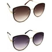 PREVIO Cat-eye Sunglasses(Black, Brown)