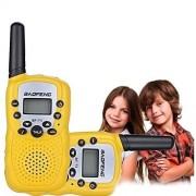 BOOYE Kids Walkie Talkie 22 Channel FRS/GMRS UHF Long Range Two Way Radio (2 Pack of Radios)- Yellow