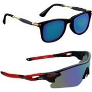 Zyaden Wayfarer, Wrap-around Sunglasses(Black, Multicolor)