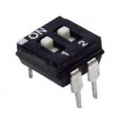Life Dip Switch 2 Poli Per Circuiti Stampati Passo 2,54 Mm Tcs Black