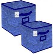 Billion Designer Laheriya Design Non Woven 2 Pieces Small & Large Foldable Storage Organiser Cubes/Boxes (Blue) - BILLION36114 BILLION036114(Blue)