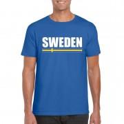 Bellatio Decorations Zweedse supporter t-shirt blauw voor heren S - Feestshirts