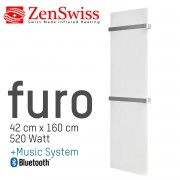 ZenSwiss furo Music Handtuchtrockner 42 x 160 cm (Matt Weiss)