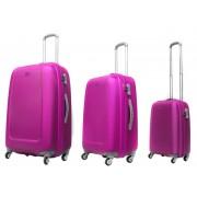 Zestaw trzech walizek ABS01 w kolorze różowym - Nowa Kolekcja