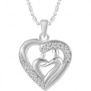 Sukai Jewels Made For Each Other Heart Rhodium Plated Alloy Cz American Diamond Studded Pendant with Chain for Women & Girls [SP147R]