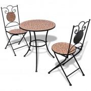 vidaXL Set mobilier grădină bistro, 60 cm, mozaic, 2 scaune, teracotă