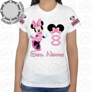 Camiseta Minnie Mouse Rosa Feliz