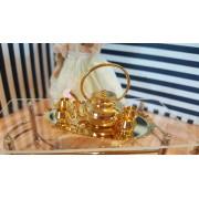 Serviciu de ceai din metal - set de 7 piese - miniatura papusi