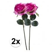 Bellatio flowers & plants 2x Paars/roze rozen Simone kunstbloemen 45 cm