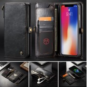 CASEME Qin Series Detachable 2-in-1 Split Leather Wallet Phone Case for iPhone Xs Max 6.5 inch - Black