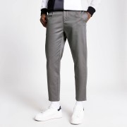 river island Mens Grey single pleat tapered fit trousers (34S)