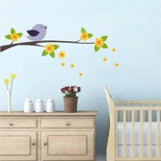 EJA Art Flower tree with bird Wall Sticker (Material - PVC) (Pec - 1) With Free Set of 12 pec butterflies sticker