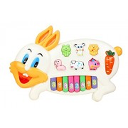 Flipzon Rabbits Musical Piano With 3 Modes Animal Sounds, Flashing Lights & Music, Multi Color