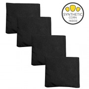 Weatherproof Duck Cloth Cornhole Bags - Set of 4 Black Bean Bags for Corn Hole Game - Made with Corn-Shaped Synthetic Corn