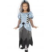Costum Halloween Copii Mireasa Horror Bleu