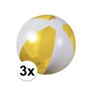 Geen 3x Strandbal opblaasbaar geel