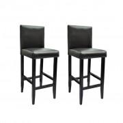 vidaXL Barové stoličky z umelej kože, 2 ks, čierne
